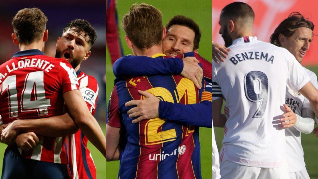 los partidos que dejaron Atlético, Real Madrid, Barcelona y Sevilla en la recta final