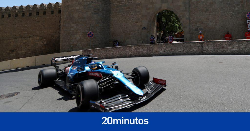 Brotes verdes para Fernando Alonso en los entrenamientos libres del GP de Azerbaiyán, con Carlos Sainz en el podio