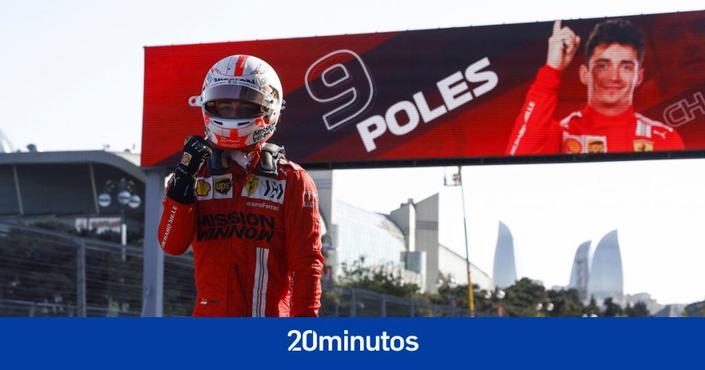 """Pole caótica de Leclerc en Bakú: cinco accidentes, incluido Sainz, y Alonso agrietado: """"Algunos están sobreexcitados"""""""