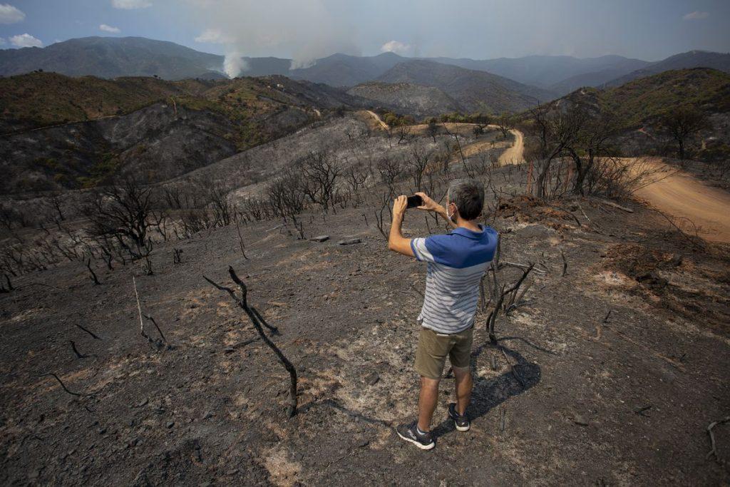 El viento y el terreno dificultan la extinción del incendio en Estepona    España